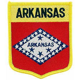 Arkansas Flag Patch. 2 7/8 W x 3 1/2 H.