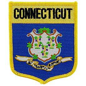 Connecticut Flag Patch. 2 7/8 W x 3 1/2 H.