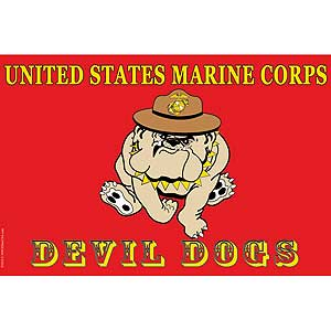 USMC Devil Dog 3x5' Polyester Flag
