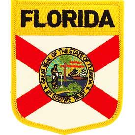 Florida Flag Patch. 2 7/8 W x 3 1/2 H.