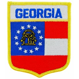 Georgia Flag Patch. 2 7/8 W x 3 1/2 H.