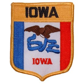 Iowa Flag Patch. 2 7/8 W x 3 1/2 H.