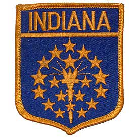 Indiana Flag Patch. 2 7/8 W x 3 1/2 H.