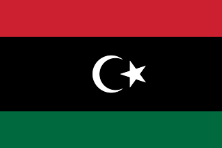 Libya Flag 4x6 mounted on black staffs with gilt speerhead. Decorative desk top.