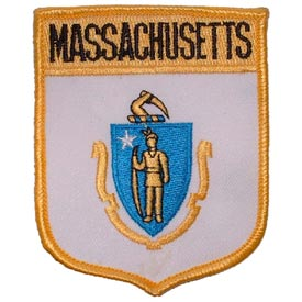 Massachusetts Flag Patch. 2 7/8 W x 3 1/2 H.