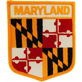 Maryland Flag Patch. 2 7/8 W x 3 1/2 H.