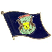 Michigan State Flag Lapel Pin.