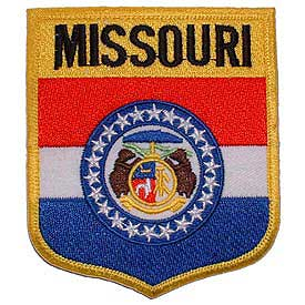 Missouri Flag Patch. 2 7/8 W x 3 1/2 H.