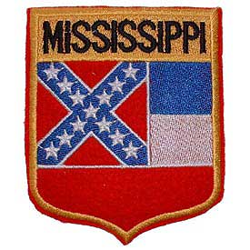 Mississippi Flag Patch. 2 7/8 W x 3 1/2 H.