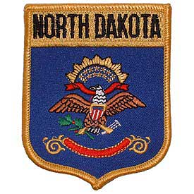 North Dakota Flag Patch. 2 7/8 W x 3 1/2 H.