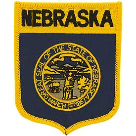 Nebraska Flag Patch. 2 7/8 W x 3 1/2 H.