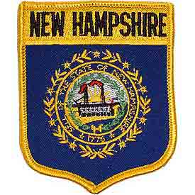 New Hampshire Flag Patch. 2 7/8 W x 3 1/2 H.