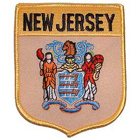 New Jersey Flag Patch. 2 7/8 W x 3 1/2 H.
