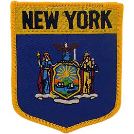 New York Flag Patch. 2 7/8 W x 3 1/2 H.