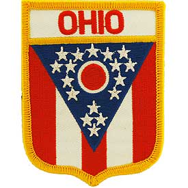 Ohio Flag Patch. 2 7/8 W x 3 1/2 H.