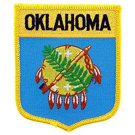 Oklahoma Flag Patch. 2 7/8 W x 3 1/2 H.