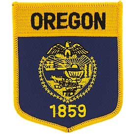 Oregon Flag Patch. 2 7/8 W x 3 1/2 H.