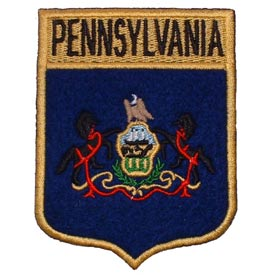 Pennsylvania Flag Patch 2 7/8 W x 3 1/2 H.