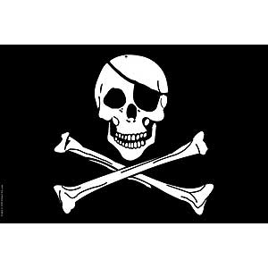 Jolly Rodgers Skull and Cross Bones 3x5' polyester flag.