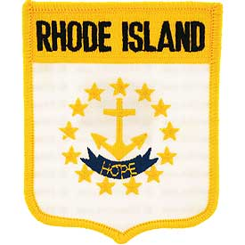 Rhode Island Flag Patch. 2 7/8 W x 3 1/2 H.