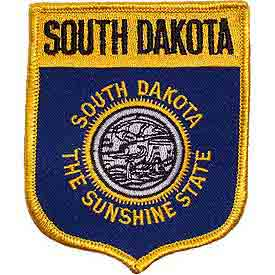 South Dakota Flag Patch. 2 7/8 W x 3 1/2 H.