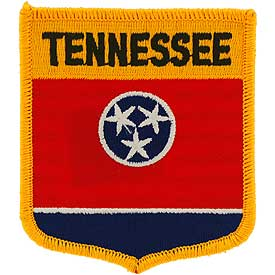 Tennessee Flag Patch. 2 7/8 W x 3 1/2 H.