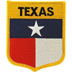 Texas Flag Patch. 2 7/8 W x 3 1/2 H.