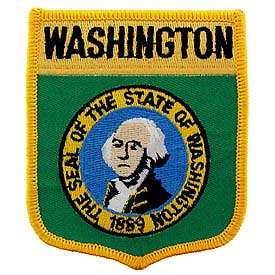 Washington Flag Patch. 2 7/8 W x 3 1/2 W.