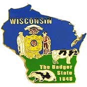Wisconsin State Decorative Lapel Pin.