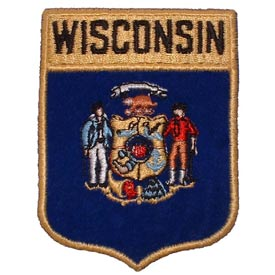 Wisconsin Flag Patch. 2 7/8 W x 3 1/2 W.