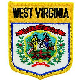 West Virginia Flag Patch. 2 7/8 W x 3 1/2 W.