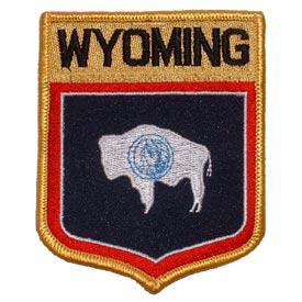 Wyoming Flag Patch. 2 7/8 W x 3 1/2 W.